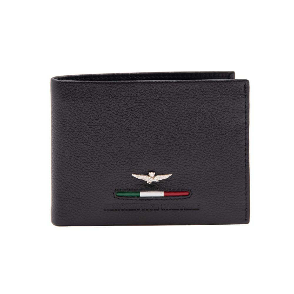 Ανδρικό πορτοφόλι της εταιρείας AERONAUTICA σε χρώμα μαύρο. Πορτοφόλι AM-151-NERO