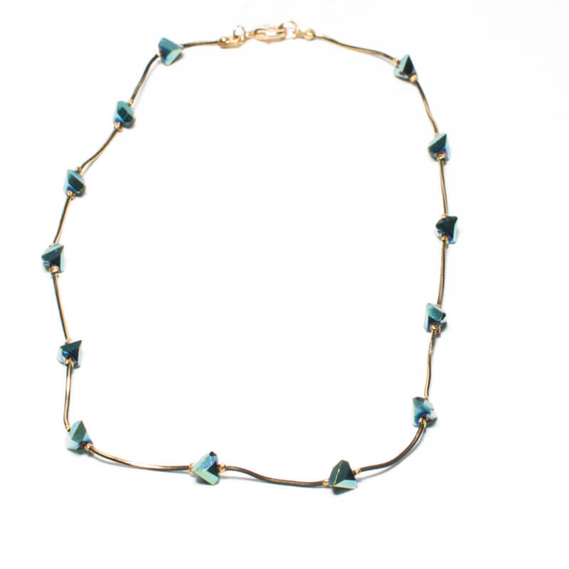 TFA - κολιέ με μπλε πέτρες σε σχήμα διαμάντι