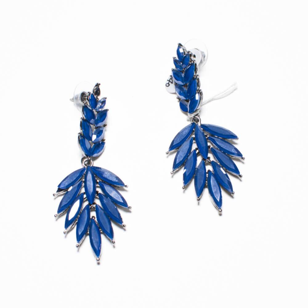 TFA - Χειροποίητα βραδινά σκουλαρίκια φύλλο μπλε