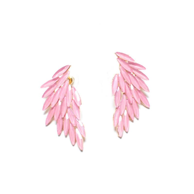 TFA - Ροζ χειροποίητα σκουλαρίκια Φτερό