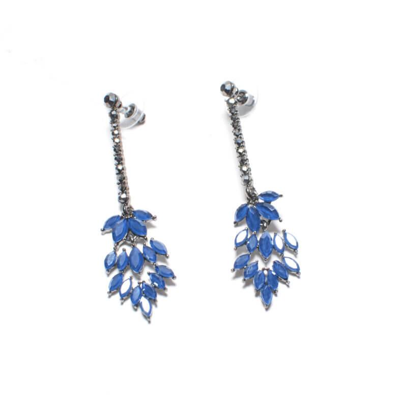 TFA - Χειροποίητα μακριά σκουλαρίκια με μπλε ζιργκόν