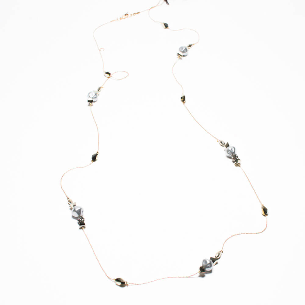 TFA - Μακρύ χειροποίητο κολιέ από επαργυρωμένο ορείχαλκο
