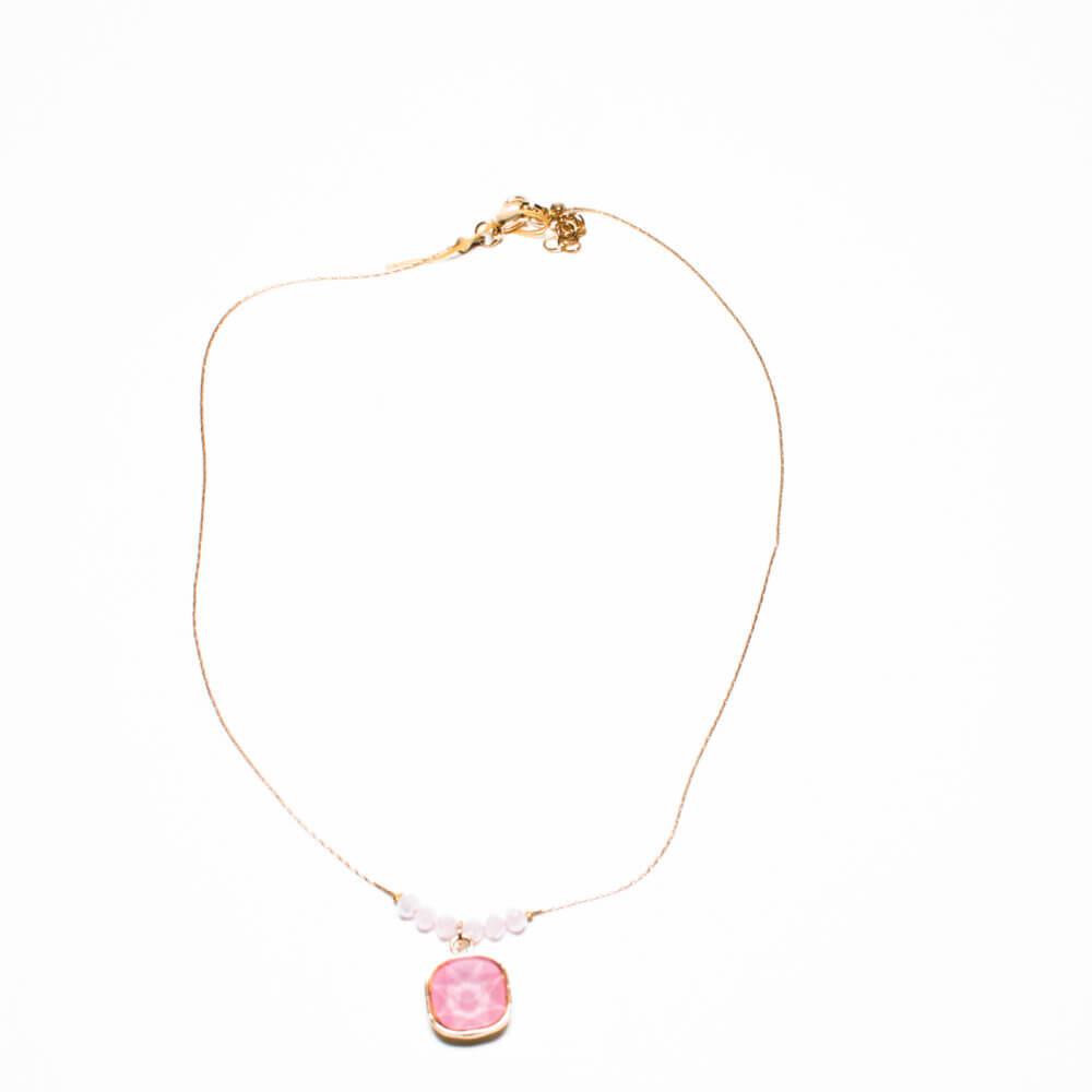 TFA - Χειροποίητο κολιέ με ροζ πέτρα