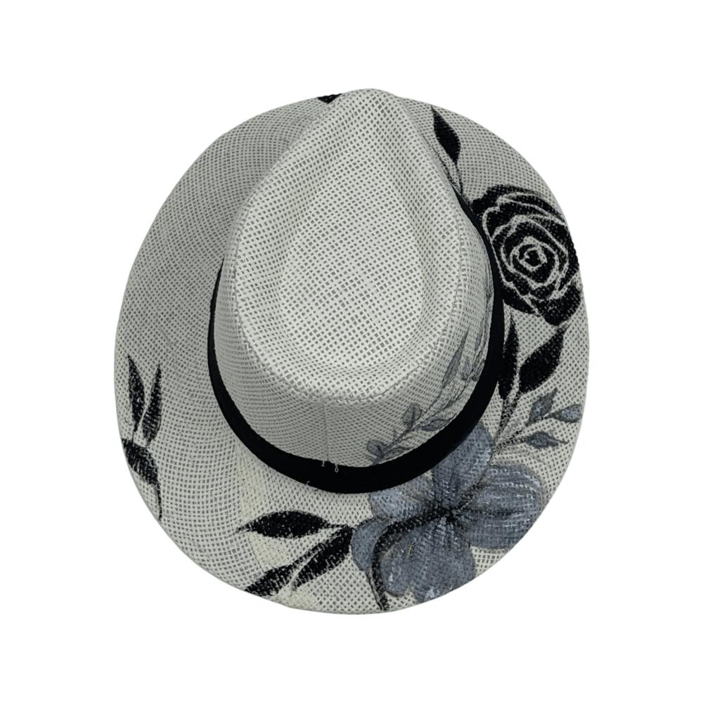 TFA - Χειροποίητο ψάθινο καπέλο Black Rose – White