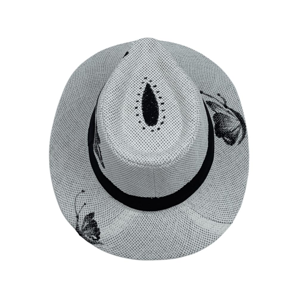 TFA - Χειροποίητο ψάθινο καπέλο Butterfly – White