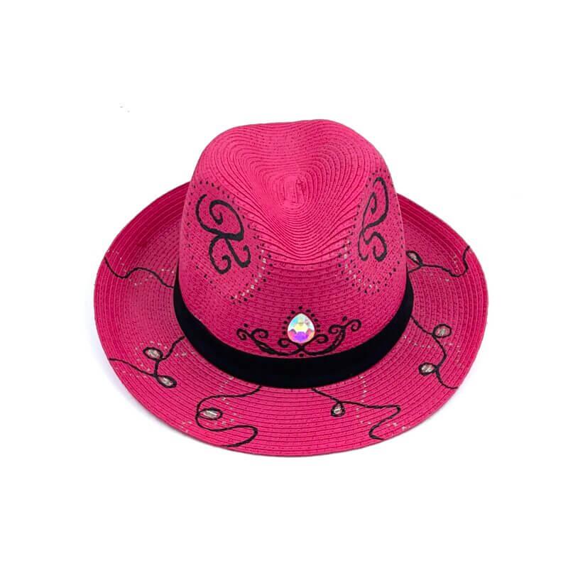 TFA - Χειροποίητο ψάθινο καπέλο Diamond - Fuchsia