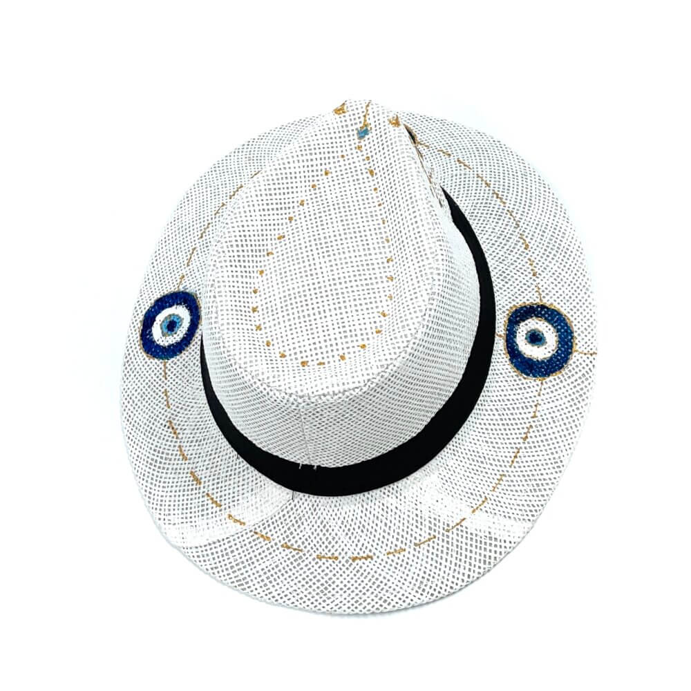 TFA - Χειροποίητο ψάθινο καπέλο Eyes – White