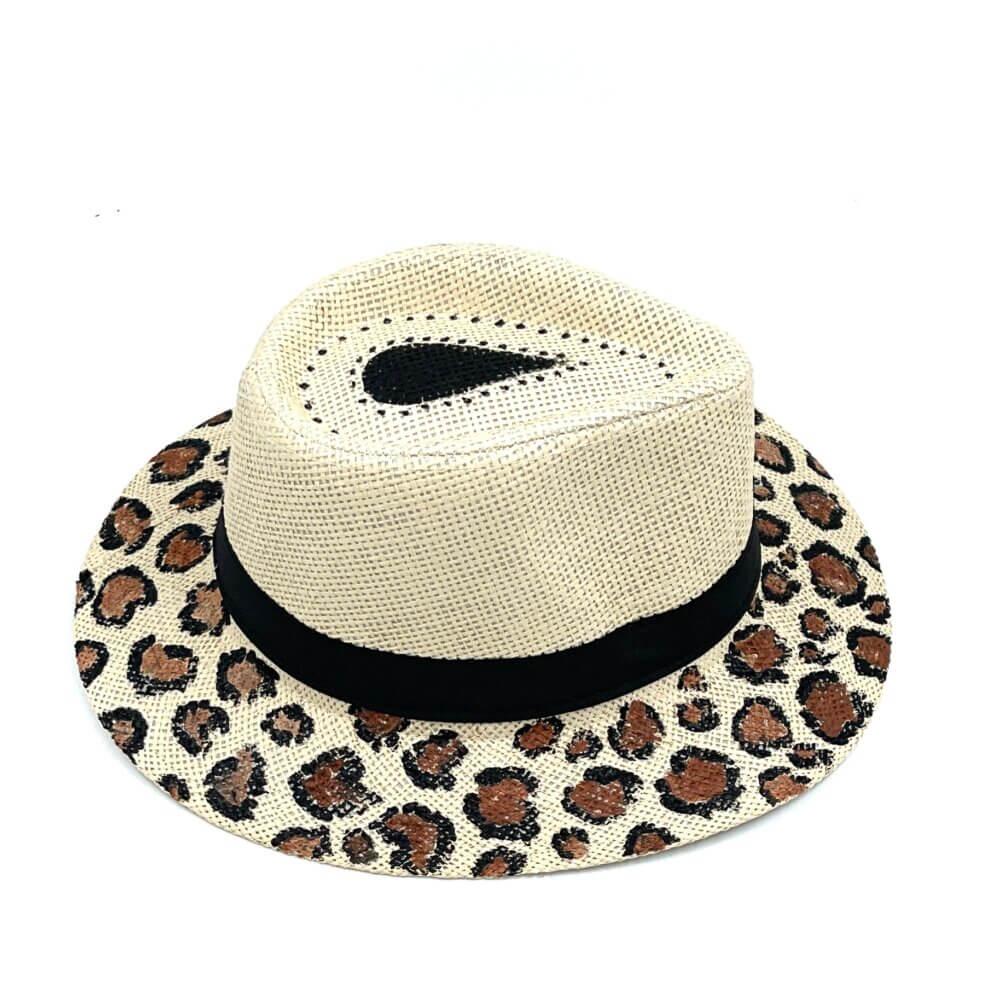 TFA - Χειροποίητο ψάθινο καπέλο Leopard – Beige