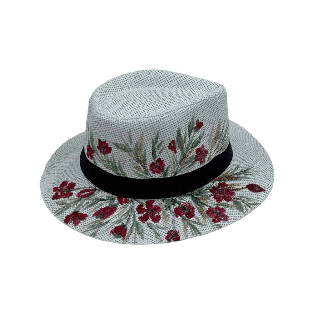 TFA - Χειροποίητο ψάθινο καπέλο Roses – White