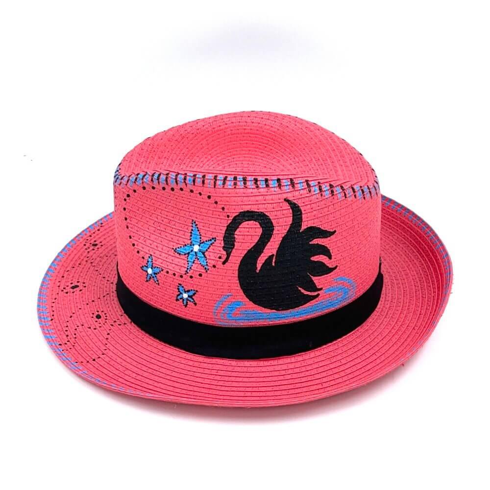 TFA - Χειροποίητο ψάθινο καπέλο Swan – Fuchsia