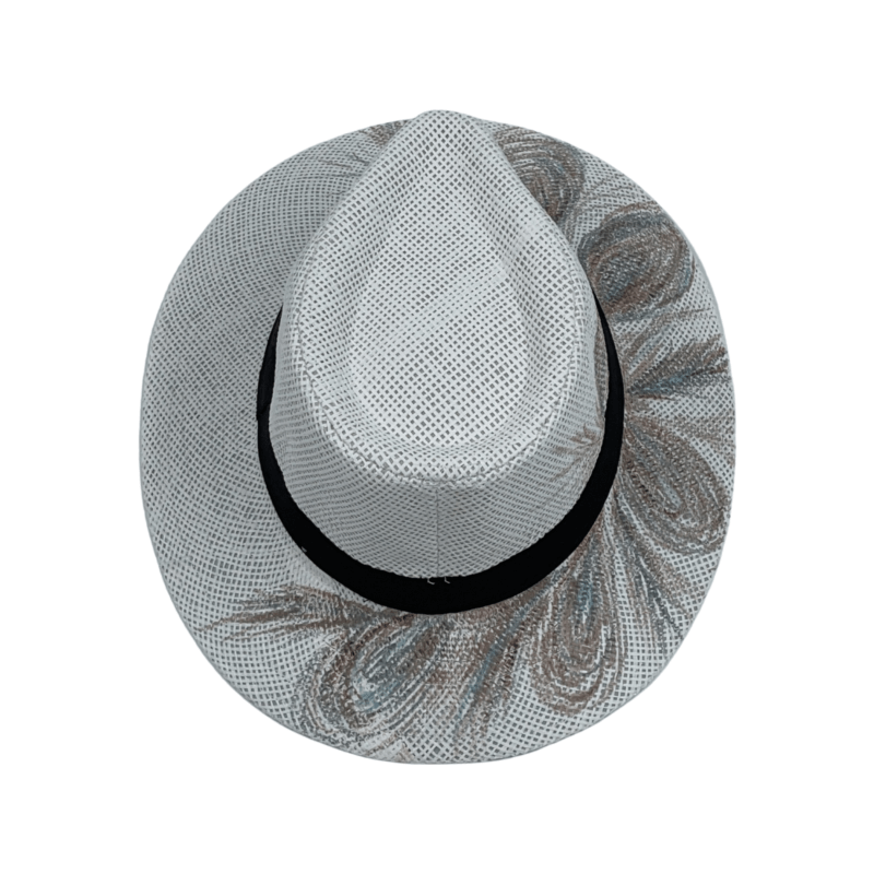 TFA - Χειροποίητο ψάθινο καπέλο Peacock – White