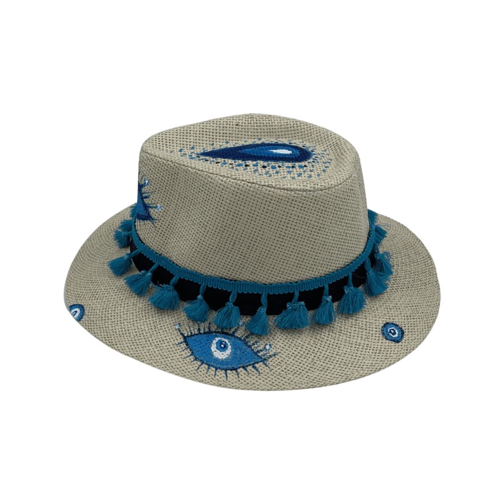 TFA - Χειροποίητο ψάθινο καπέλο Seven Eyes – White