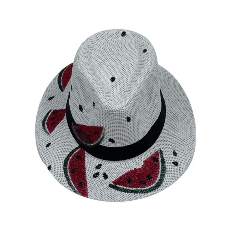TFA - Χειροποίητο ψάθινο καπέλο Watermelon – White