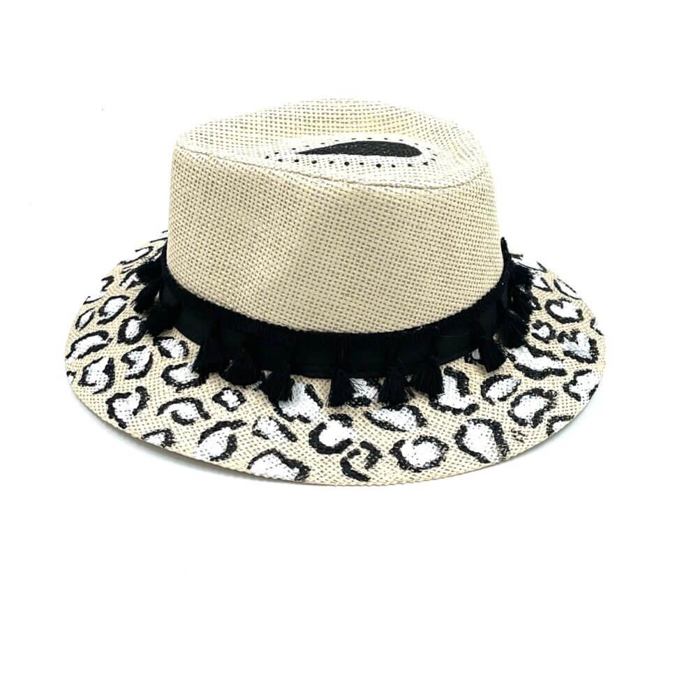 TFA - Χειροποίητο ψάθινο καπέλο Zebra – White